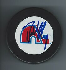 Bill LINDSAY Signed QUEBEC NORDIQUES Puck