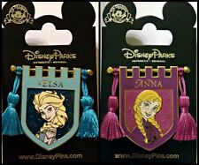 Disney Parks 2 Pin Lot FROZEN Banners Shield Tassels Elsa + Anna
