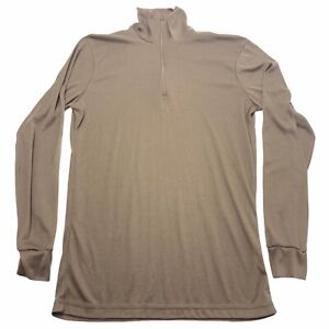 US Military Sekri Brown 1/4 Baselayer Pullover Lightweight Thin Medium M ECWCS