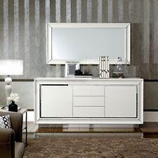Anrichte Buffetschrank Sideboard Schubladen Türen Weiß Hochglanz Chrom Einsatz