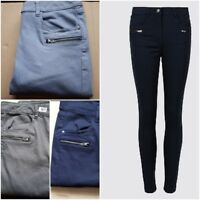 Ex M&S Cotton Rich Zip Detail Skinny Leg Jeans Trousers  Navy, Charcoal, Blue