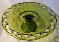 Vintage Indiana Glass Olive Green Cake Server Plate Pedistal Dish Lace Edge 14""