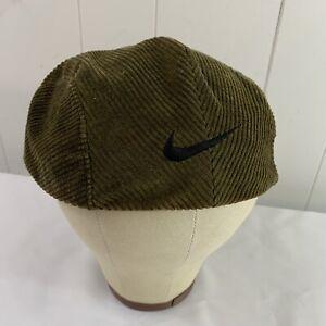 Vintage 90s Nike Mens Golf Newsboy Flat Cap Cabbie Hat Green Corduroy Size Large