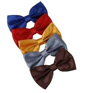 DBF2008 Mens Bow Tie Blue,Red,Gold,Grey,Brown Solid Poly Pre-tied Bow tie Presen