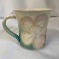Handmade Art Pottery 8 Oz Coffee Mug Cup Pink Hibiscus Flower SIGNED Lisa Meeks