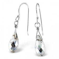 925 Sterling Silver Clear Teardrop Dangle Drop Earrings - Boxed