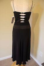 Anne Klein Sexy Back Black Boned Corset Cocktail Silk Dress 12 L NWT
