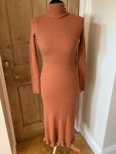 M&S COLLECTION Polo / Roll Neck Ribbed Knit Dress Size S 8 10 Rust Tan Brown