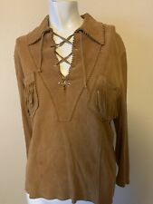 Norm Thompson Exclusive Vintage 1960s 1970s Buckskin Fringe Womens Top L