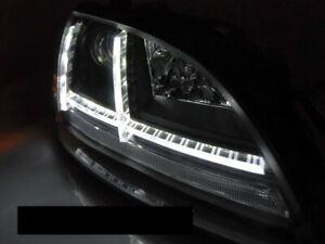 Pair DRL Headlights per AUDI TT 2006-2010 8J Black LED Sequential indicators IT