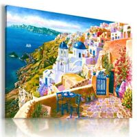 PAINTING GREECE SEA HOLIDAY View PRINT Canvas Wall Art Picture Large L56 MATAGA