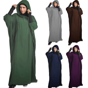 One Piece Women Overhead Hijab Prayer Kaftan Muslim Long Dress Abaya Jilbab Robe