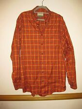 CABELA'S Outfitter Series Plaid Dress Shirt Long Sleeve Orange Size XL NWOT