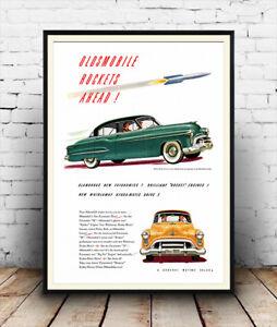 Oldsmobile Rockets ahead ,  Vintage Motoring advert poster reproduction.