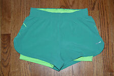 HIND neon teal green double workout shorts S