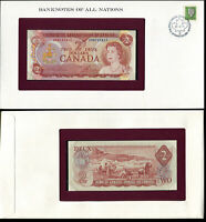 CANADA 2 DOLLARS 1974 P 86 UNC WITH STAMP FOLDER BANKNOTES OF ALL NATION
