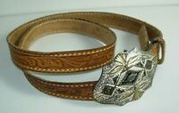 """mens BROWN tooled leather western 7/8"""" BELT size 40"""" silver plate buckle"""
