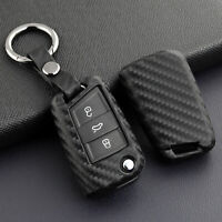 High Quality Carbon Fiber Flip Car Key Fob Chain Cover Case For VW Polo MK6 Golf