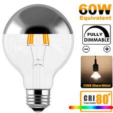 G80 6W E26 120V LED Bulb Mirror Half Chrome Globe Dimmable Round Globe Light