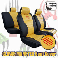 Yellow Black Leather Look Claws Monster Airbag Seat Covers Full Set 9PCS Car SUV