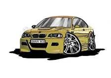 BMW M3 - E46 Phoenix Yellow Caricature Car Cartoon A4 Print - Personalised Gift