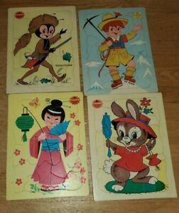 VINTAGE STA-N-PLACE FURRY INLAID PUZZLE LOT (4)