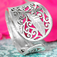 925 Sterling Silver Filigree Ring Spirals Leaf Boho Hollow Adjustable Size 7-10