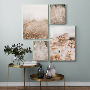 Grass Reed Flower Nature Landscape Poster Nordic Wall Art Canvas Print Painting