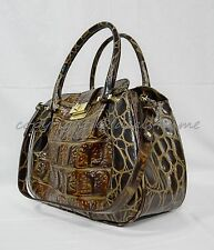NWT Brahmin Laura Satchel/Shoulder Bag in Espresso Orinoco.. Embossed Leather