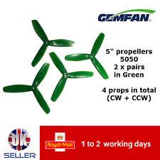 "Gemfan Propellers Props 5"" 5050 Tri Blade 3 Leaf x4 2 Pairs Green 210 Racer UK"