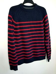 FAT FACE MENS JUMPER SWEATER M NAVY BLUE RED STRIPED WOOL COTTON THICK KNIT