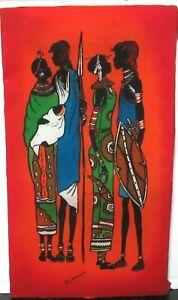 KIWANUKA NAIROBI AFRICAN PEOPLE ORIGINAL LARGE BATIK PAINTING KENYA ARTIST