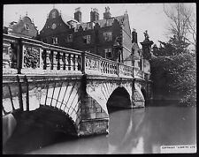 Glass Magic Lantern Slide ST JOHNS COLLEGE THE OLD BRIDGE CAMBRIDGE C1900 PHOTO