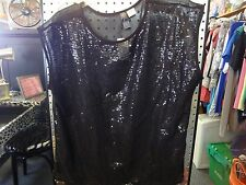 La Classe Couture womens L  black sequin front sheer shirt top high low NWT