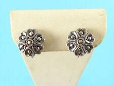 Vintage Sterling Silver Art Deco Marcasite Round Flower Screw On Earrings