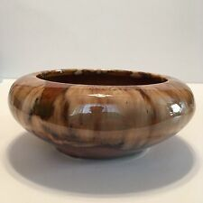 "McCoy Early Vintage Exceptional Brown Onyx Glaze  6"" Flower Bowl Mint Unsigned"