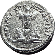 CARACALLA 201AD Rome Silver Authentic Ancient Roman Coin Trophy Tropaion  i64680
