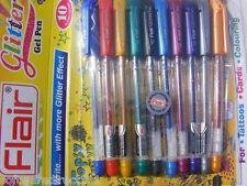 Flair Glitter Gel Pen (10 Colours) (Tattoos, Cards & Coloring) Original + New