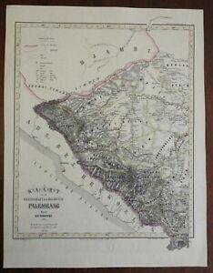 Palembang Dutch East Indies Indonesia Sumatra c. 1858 Haren large detail map