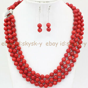 3 Rows 8mm Coral Red Shell Pearl Round Beads Necklace Earrings Set 17-19'' AA