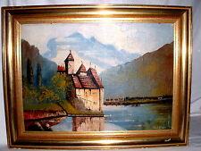 Gemälde Schloss Chillon am Genfer See  Signiert WALTHER Öl auf Leinwand gerahmt