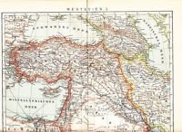 1899 WEST ASIA Turkey Caucasia Azerbaijan Cyprus Iran iraq Syria Antique Map