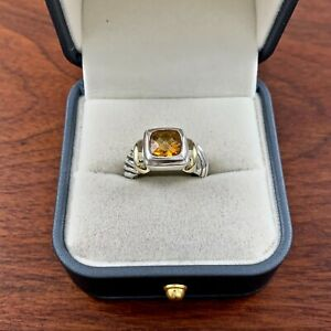 DAVID YURMAN STERLING SILVER 14K YELLOW GOLD CITRINE CABLE RING SIZE 7