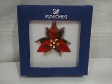 Swarovski 5064281 Poinsettia Ornament Gold Tone, Red Crystal Authentic MIB.