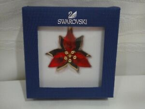 Swarovski 5064281 Poinsettia Ornament Gold Tone, Red Crystal Authentic MIB.