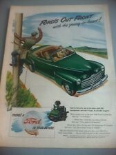 1946 Ford V-8 Convertible ORIGINAL AD - Great Garage Decor Bordens