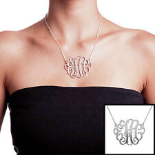 """2"""" Extra Large Monogram Necklace in Sterling Silver - Personalized (USA Seller)"""