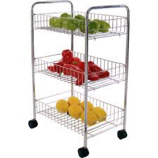 Msv - carrito de cocina multiuso 3 niveles cromado
