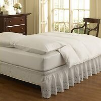"""WRAP AROUND EYELET LACE BED SKIRT DUST RUFFLE, 14"""" DROP"""