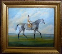 Antique oil on board painting Grey Horse racing Ja.Ganley pinxit equestrian art